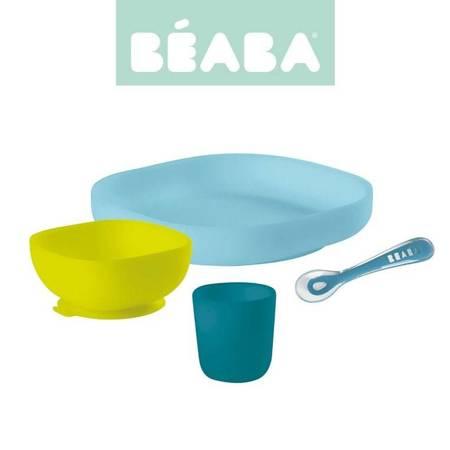 Beaba - Komplet naczyń silikonu z przyssawką blue